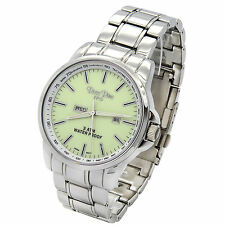 Mens Stainless Steel Metal Band Green Dial Day and Date Quartz  Wrist Watches1