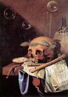 Oil painting Simon Renard De Saint Andre - vanitas skull flute still life table
