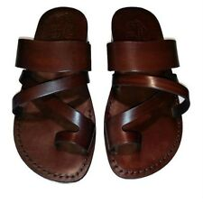 Men Brown Black 100% Leather Biblical Sandals Jesus Strap Sandal Shoes Size 6-12