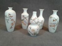Five Vintage Hand Painted Asian Porcelain Bud Vase, Bird & Flowers, Original Box