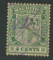 MAURITIUS ca. 1922, rare handwritten devaluation on 4 C Coat of Arms, R!