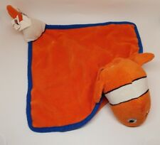DOUDOU POISSON CLOWN NEMO CARRE PLAT ORANGE BLANC BLEU DISNEY