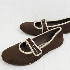 92f30e09389 Womens Champion Mary Jane Sz 9.5 Brown Beige Suede Leather Slip On Casual  Shoes
