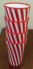 4 x WELWARE VINTAGE RETRO RED & WHITE STRIPE MELAMINE BEAKERS CUPS CAMPERVAN VW