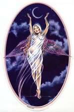 CRESCENT MOON SILVER GODDESS WICCA FAIRY STICKER/VINYL DECAL by Selena Fenech