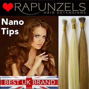 "20"" NANO RING TIP Rapunzels salon quality remy human hair extensions nano beads"