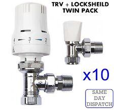 "X10 Thermostatic Radiator Valve Set 15mm x 1/2"" TRV Lockshield Valves*TWIN PACK*"