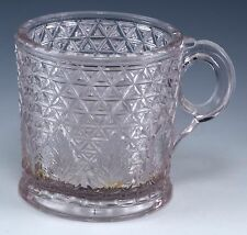 Antique EAPG Pressed Windsor Glass Diamond Cut With Leaf (Triangle) Cup c.1890