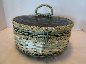 "Vtg Woven Sewing Knitting Basket green crocodile vinyl Design JAPAN 1960's 10½""w"