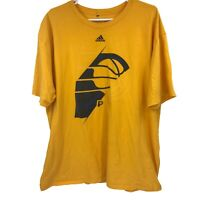 Adidas Indiana Pacers NBA Mens 2XL XXL Yellow T Shirt Adult Basketball Go To Tee