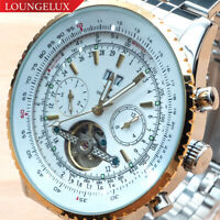 NEW Mens Flywheel Stainless Luxury Bling Skeleton Automatic Mechanical Watch Big