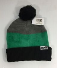 NWT NEFF Beanie One Size 100% Acrylic Trio Black Green Grey