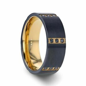 Black Titanium Band Gold Inside & 6 Bezels with 3 Black Diamonds - 8mm Size 10.5