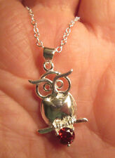 Sterling Silver Soild Body Owl with Red Crystal Necklace