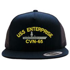15256641e2f USS ENTERPRISE CVN-65 SHIP MESH TRUCKER SNAP CLOSURE CAP HAT BLACK RETRO