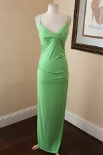 Vtg 90s Bright Green Sparkly Slip Evening Formal Gown Dress Size M Glitter