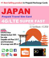 Japan Travel Data Sim -  7 to 15 days 1GB/day data Fast Softbank 4G/LTE network