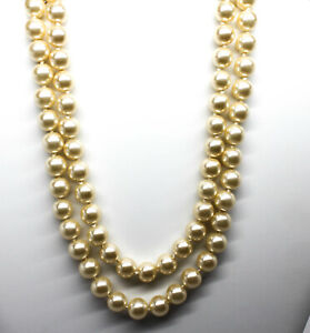 Kenneth J Lane Goldtone Double Strand Faux Pearl Necklace, 16 inch