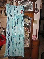 Faded Glory, Tie Dye Tube Top Dress New With Tags Sz. L/G Long. Aqua Blues.