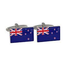 One Pair Silver Novelty Cufflinks New Zealand Flag & Gift Velvet Pouch T01C1