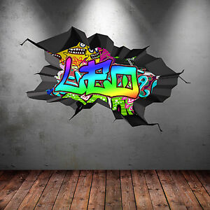 FULL COLOUR PERSONALISED 3D GRAFFITI NAME CRACKED WALL STICKERS DECALS WSD173