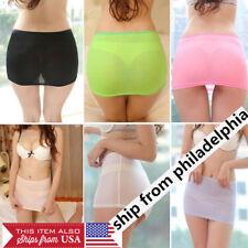 Sexy Women's Stretch Mesh Micro Mini Skirt See Through Lingerie Sheer Nightwear