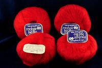 New MOHAIR KID 80 RED Yarn LOT of 4 skeins 50 gr x 4 Schaffhauser Switzerland
