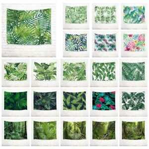 Rain Forest Watercolor Palm Leaf Tapestry Wall Hanging Living Room Bedroom Decor