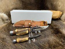 Puma Gutmann Cutlery Stag (Hirschhorn Piggy Back Knife Set & Leather Sheath