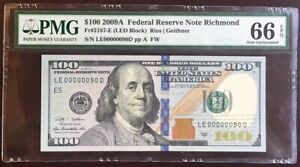 Amazing Crisp GEM++ UNC 2009 A $100 Richmond FRN! PMG 66 EPQ! LOW FANCY 00000090