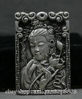 """3"""" China Miao Silver Guan Yin Goddess Boddhisattva Flower Amulet Pendant Buddha"""