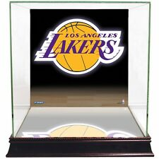 Los Angeles Lakers Glass Basketball Display Case with Logo Background-Steiner
