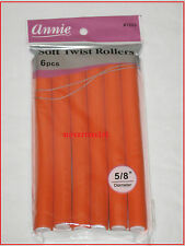"Annie Soft Twist 5/8"" Diameter Hair Rollers 6 Pcs #1203 Orange 7"".New in Pack."