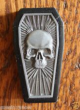New Refillable Windproof Metal Relief Coffin Lighter Gothic Biker Black Skull