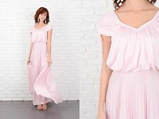 Vintage 70s Pink Maxi Boho Dress Accordion Pleated Slouchy Draped Hippie XS