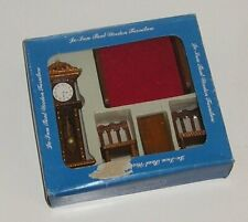 WOODEN MINIATURE DOLLS HOUSE FURNITURE - BED, GRANDFATHER CLOCK, TABLE, CHAIRS