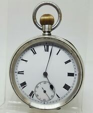 Stunning antique solid silver gents pocket watch 1934 gwo