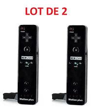 2 X Télécommande Wiimote plus (Motion plus inclus) pour  Wii et Wii U - Noir