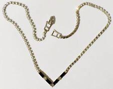 collier bijou vintage cristaux facette diamant baguette noir coul.argent * 3777