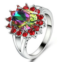 Women Rainbow Topaz white Rhodium Plated Engagement Ring Size 8 Rings Jewelry