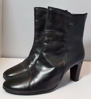 RRP £150 Jones the Bootmaker Black Leather Ankle Boots Heels Size EU 39 UK 6