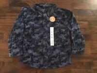 NWT Boys Jumping Beans Button Down Fleece Shirt Top Blue Camo Size 3T