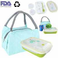 FDA Microwavable Bento Lunch Box Leak Proof + Insulated Lunch Bag Set USA