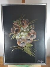ELIAS DIVAN BRAZILIAN ARTIST FLOWERS MOTIVE LOVELY UNUSUAL MIXED MEDIA ART WORK
