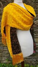 shanghai tang brown yellow silk velvet devore scarf