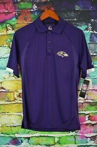 New Majestic Mens Cool Base NFL Baltimore Ravens Polo Small NWT