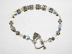 Sterling Silver 14k Love Charm Number One Aunt Beaded Bracelet Block Beads 925