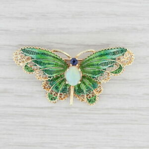 Opal Sapphire Butterfly Brooch 14k Yellow Gold Ornate Filigree Insect Pin