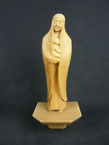 MADONNA MARIEN STATUE HOLZ HANDGESCHNITZT DESIGN MIT WANDSOCKEL MARIA JESUS 36cm