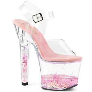"""Pleaser 7"""" liquid filled pink glitter heart sandals"""